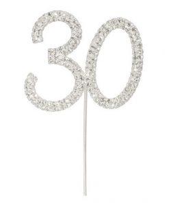 Diamanté Number 30 on Silver Stem