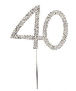 Diamanté Number 40 on Silver Stem