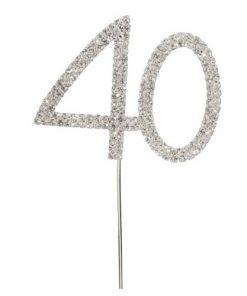 Diamanté Number 40 on Silver Stem