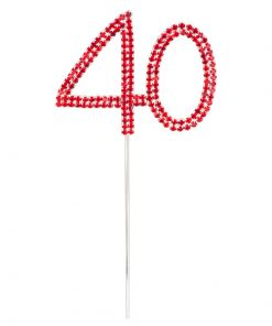Diamanté Red Number 40 on Silver Stem