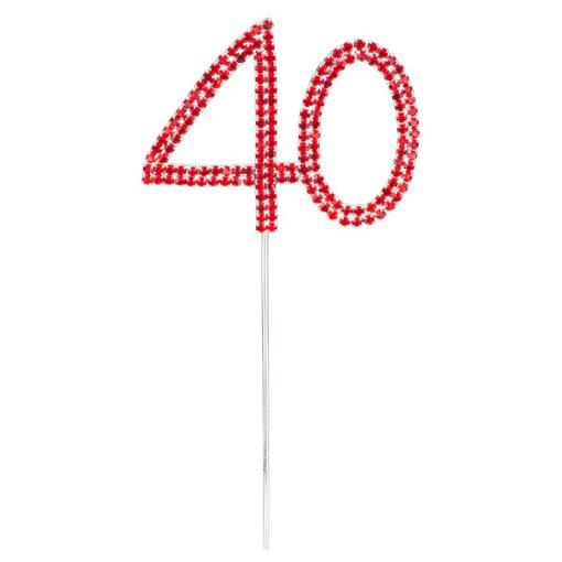 Diamanté Red Number 40 on Silver Stem