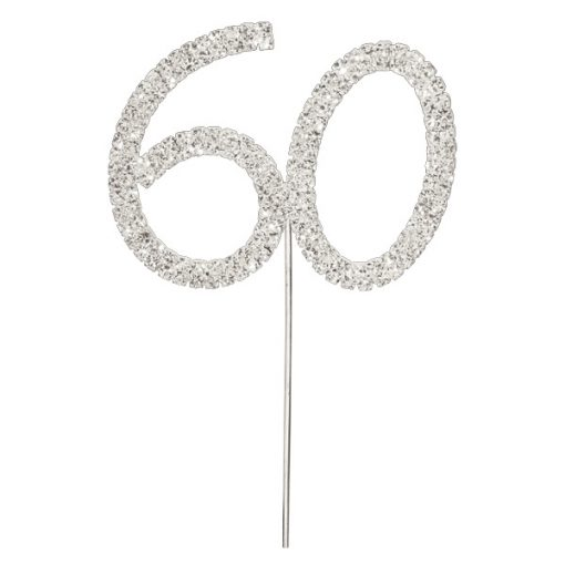Diamanté Number 60 on Silver Stem
