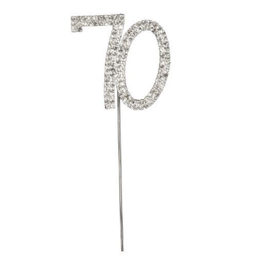 Diamanté Number 70 on Silver Stem