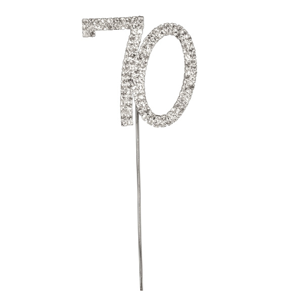 Diamanté Number 70 on Silver Stem