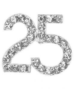 Small Diamanté 25 on Silver
