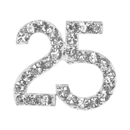 Small Diamanté 25 on Silver