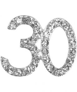 Small Diamanté 30 on Silver
