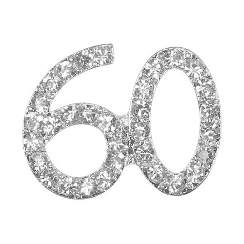 Small Diamanté 60th on Silver