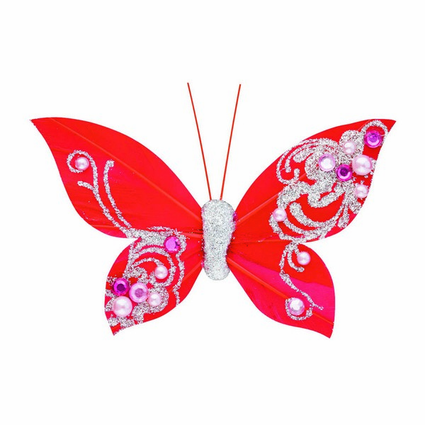 Feather Butterfly with Clip Red