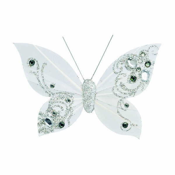 Feather Butterfly with Clip White
