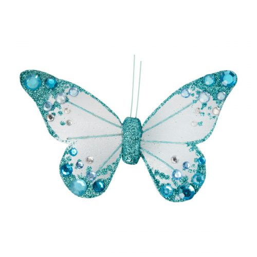 Organza Butterfly with Clip - Turquoise