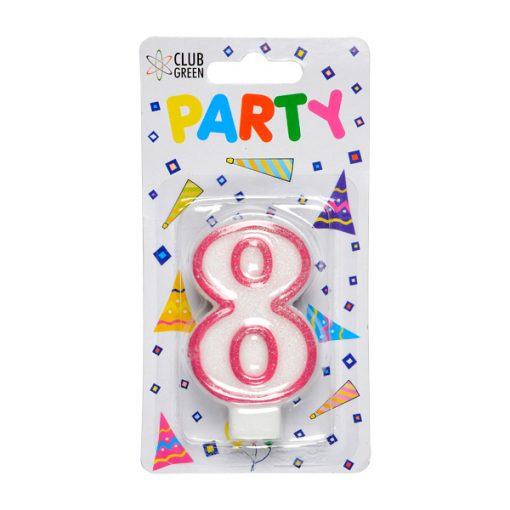 Party Candle - Number 8 Pink