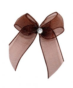 Self Adhesive Brown Diamanté Bows