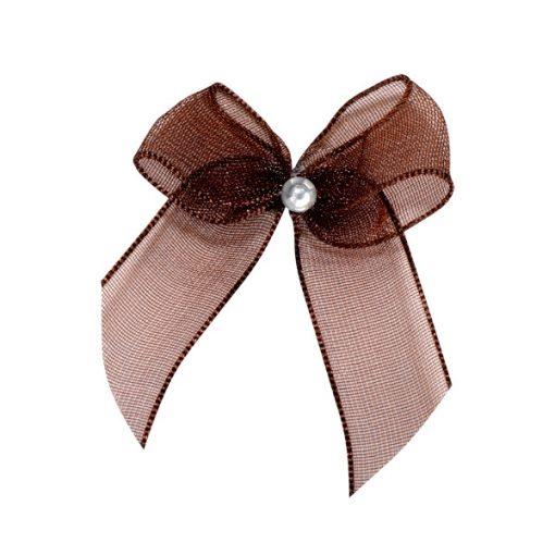 Self Adhesive Brown Diamanté Bows