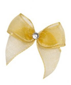Self Adhesive Gold Diamanté Bows