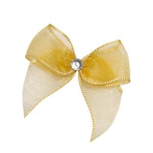 Self Adhesive Gold Diamanté Bows