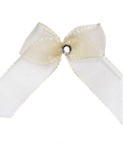 Self Adhesive Ivory Diamanté Bows