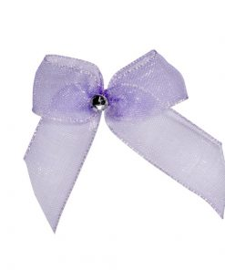 Self Adhesive Lilac Diamanté Bows