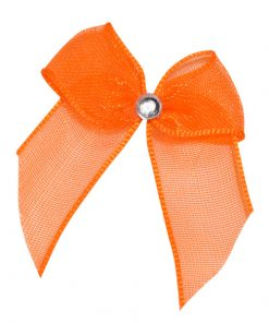 Self Adhesive Orange Diamanté Bows
