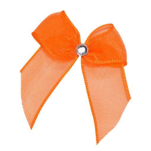Self Adhesive Orange Diamanté Bows