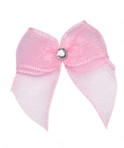 Self Adhesive Pink Diamanté Bows