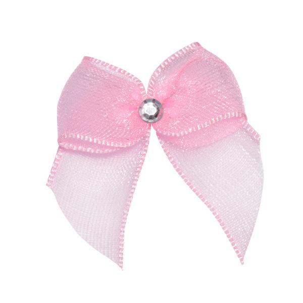 Self Adhesive Pink Diamanté Bows