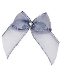 Self Adhesive Silver Diamanté Bows