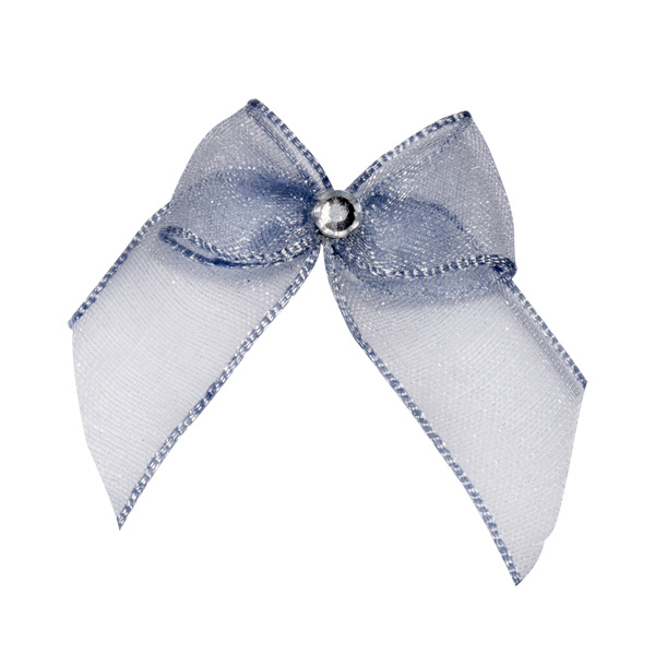 Self Adhesive Silver Diamanté Bows