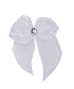 Self Adhesive White Diamanté Bows