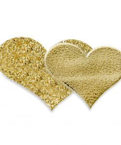 Self Adhesive Gold Glitter Double Heart