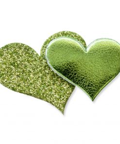 Self Adhesive Lime Glitter Double Heart