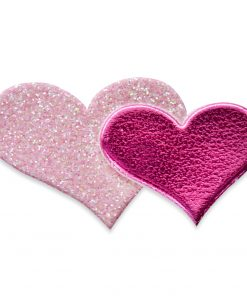 Self Adhesive Pink Glitter Double Heart