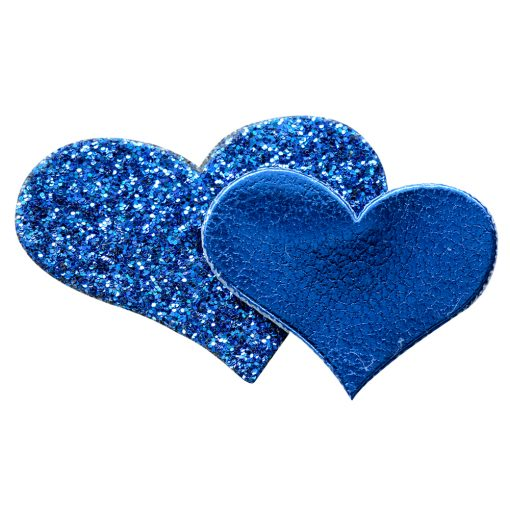 Self Adhesive Silver Glitter Double Heart