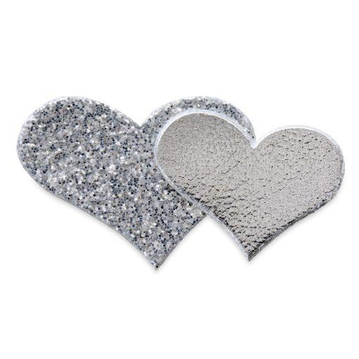 Self Adhesive Silver Glitter Double Heart