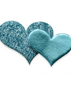 Self Adhesive Turquoise Glitter Double Heart