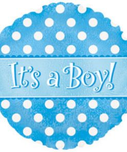 "18"" It's A Boy Dots Dazzleloon Foil"