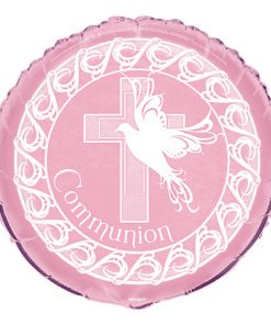 "18"" Dove Cross Pink Communion Foil"