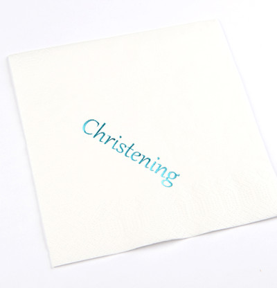 Christening Luncheon Napkins Blue Print