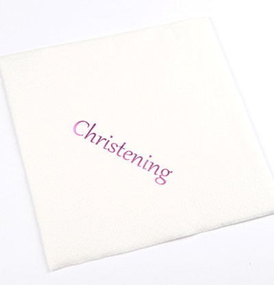 Christening Luncheon Napkins Pink Print