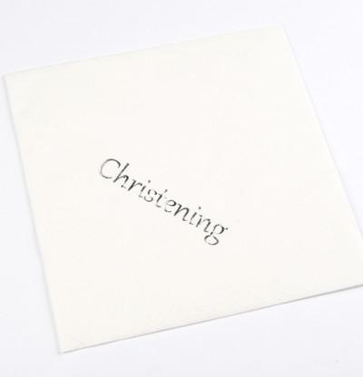 Christening Luncheon Napkins Silver Print