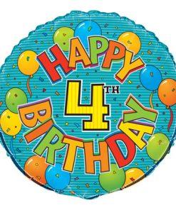 """18"""" Happy 4th Birthday Festive Foil"""