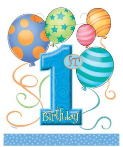 First Birthday Balloons Blue Loot Bags