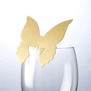 Butterfly Place Cards For Glass Gold