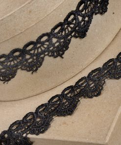 35mm Black Scalloped Lace