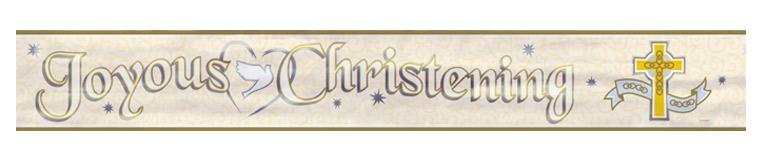 Joyous Christening Banner