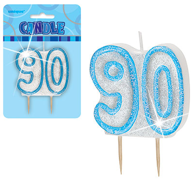 Blue Glitter Numeral '90' Birthday Candle