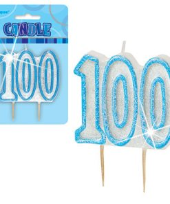 Blue Glitter Numeral '100' Birthday Candle