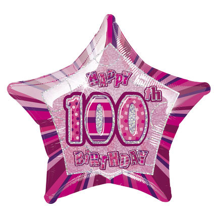 "20"" Pink Star Happy 100th Birthday Prism Foil"