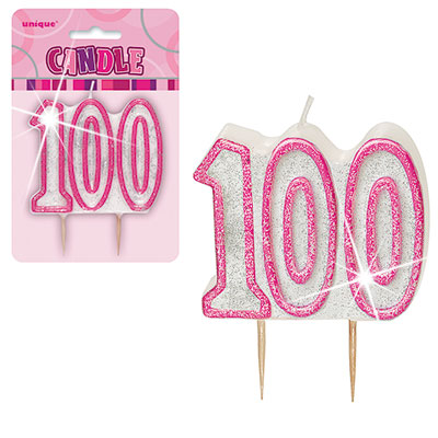 Pink Glitter Numeral '100' Birthday Candle
