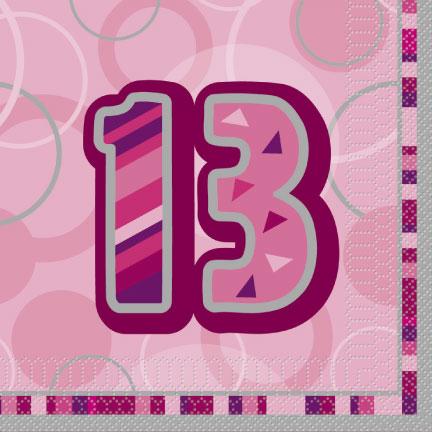 Pink Glitz Age '13' Luncheon Napkins